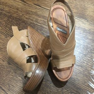 Brown platform wedges